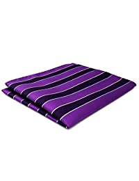 Shlax&Wing Hanky For Men Stripes Purple Blue Pocket Square Business Fashion