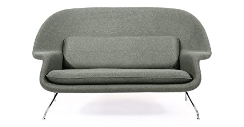 Kardiel Womb Mid-Century Modern Loveseat Sofa, Cadet Grey Tweed Cashmere (Molded Fiberglass Lounge Chair)