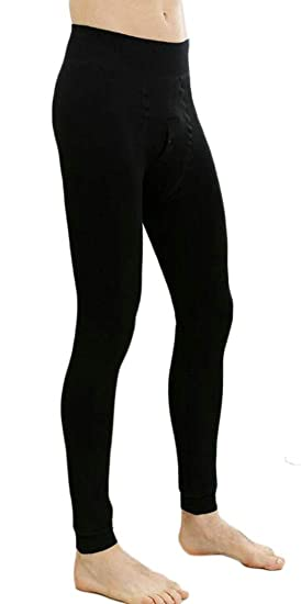 d2ca814e7f7dd BYWX Men Cotton Underwear Stretch Heavy-Weight Fleece Lined Thermal Thermal  Pant Black OS