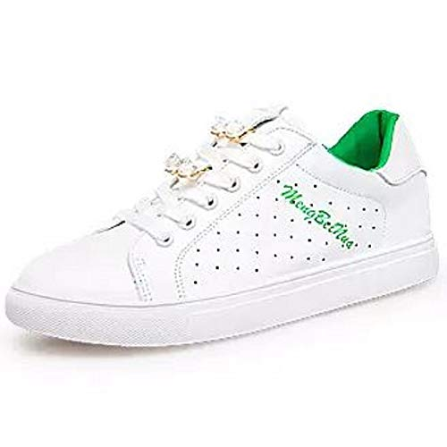 Spring Heel White Flat ZHZNVX Green Summer Leather Pink Comfort Women's Gold Toe Faux Round White Green Sneakers Shoes amp; Casual White qywTPXTvcU