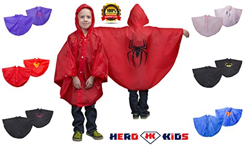 Boys Superhero Red & Black Spider-Man Hooded Polyester Rain Poncho with Matching Carrying Pouch