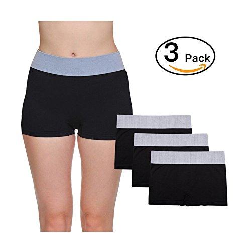 LastFor1 Women Underwear Boyshorts Panties Briefs Pack Plus Size 3 Pack Black (Boy Brief Panty)