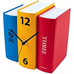 Karlsson Table Clock, Colorful Faux Books