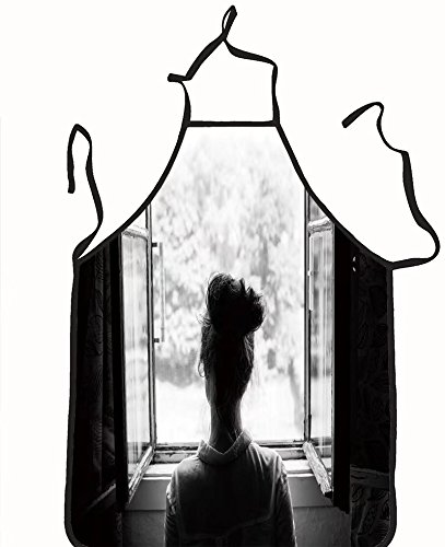 chanrancase tailored apron woman looking through the old window on the g Children, unisex kitchen apron, adjustable neck for barbecue 17.7x26.6+10.2(neck) - For Manila Looking Women Men
