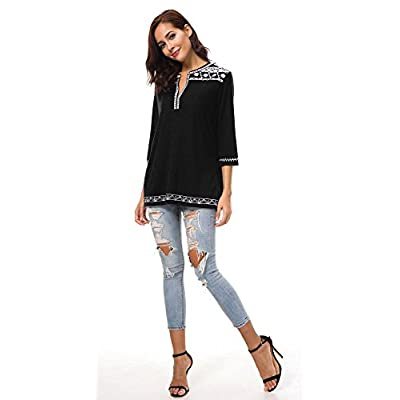 Women's 3/4 Sleeve Boho Shirts Embroidered Peasant Top at Women's Clothing store
