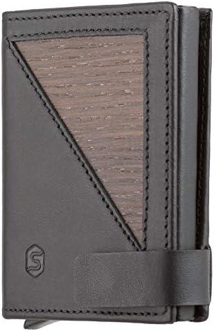 SEBASTIAN STURM Geldbörse mit RFID-Schutz »FLO« | Echtes Holz und Leder | Geldbeutel NFC-Blocker Portemonnaie Herren Damen (Räuchereiche/Schwarz)