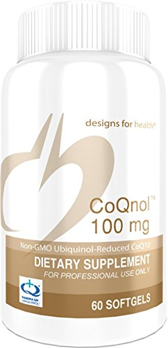 Heartbeat Cholesterol Support - Designs for Health - CoQnol - 100mg Antioxidant Ubiquinol, Reduced + Non-GMO CoQ10 for ATP Energy Support, 60 Softgels