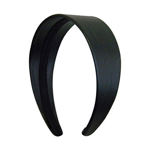 Black 2 Inch Wide Leather Like Headband Solid Hair band for Women and Girls ()