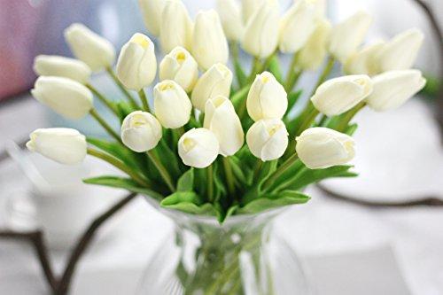 COOBL Artificial Silk Flower High Grade Decorative Tulip Flower Wedding Bouquet Bride Holding Garlands Vine DIY Floral Art Plant Bride Home Decor(20pcs) (White)