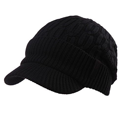 SIGGI 37% Wool Knit Visor Beanie Mens Winter Hat Brim Cuff Newsboy Jeep Cap Cold Weather Hat Fleece Lined Black (Running Wool Hat)