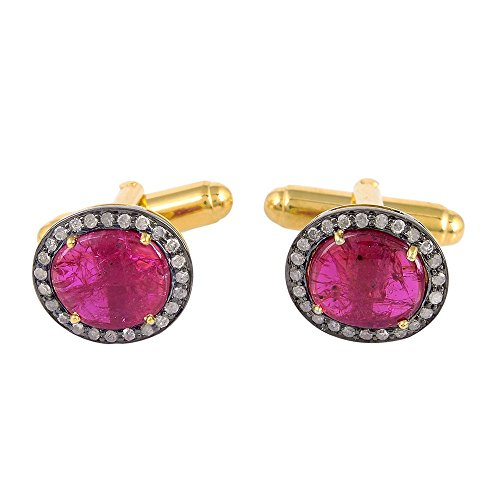8.75ct Natural Ruby Pave Diamond 14kt Gold Cufflinks 925 Sterling Silver Jewelry by Jaipur Handmade Jewelry