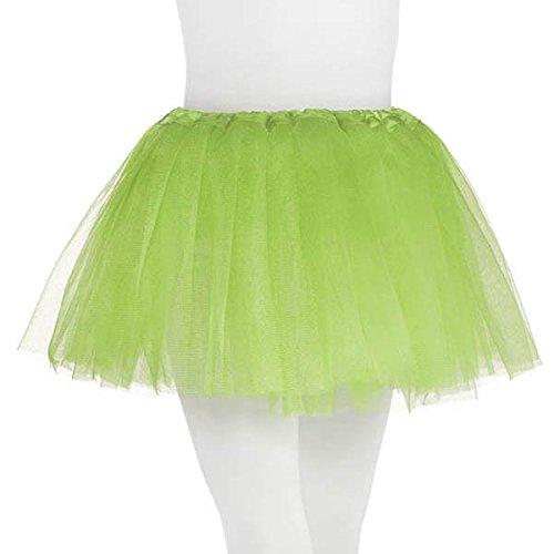Tutu with Elastic Waistline Children Ballet Princess Costume Party, Neon Green, Fabric, Child - Size 10.