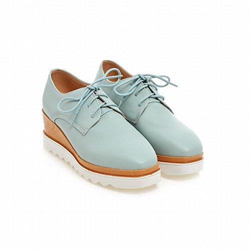 Carolbar Mujeres Lace Up Sweet Cute Lovely Fashion Candy Colors Zapatos De Tacón De Cuña Oxfords Azul