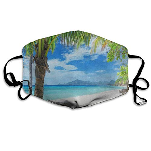 Mouth Mask Green Palm Tree Sand Beach Sea Surgical Mask Winter Warmth Healthy Washable for Men -