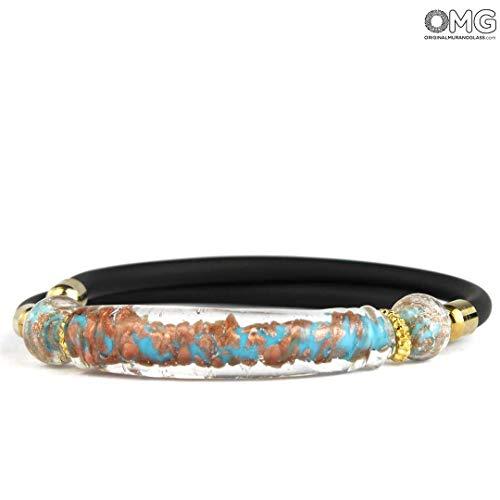 Original Murano Glass OMG Bracelet Atena - Light Blue Long Beads with Avventurina