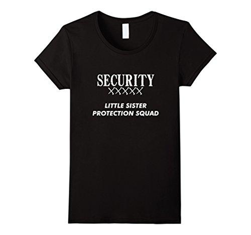 Big Brother Little Sister Halloween Costumes (Womens Big Brother Gift Ideas Little Sister Protection Squad Shirt XL Black)