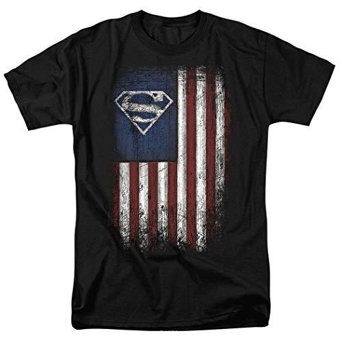 Superman Vintage Patriotic American Flag S Shield T Shirt & Stickers (XX-Large) Black ()