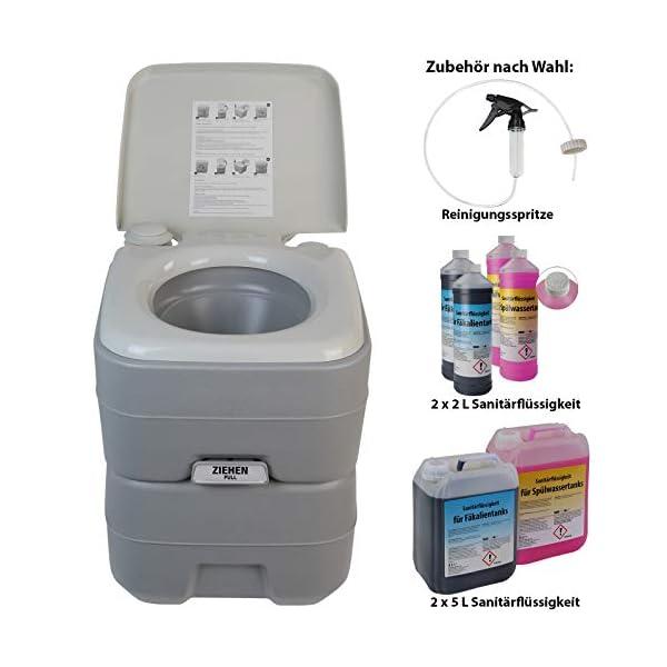 41us8FuLb7L BB Sport Campingtoilette 20l - Optional: Sanitärflüssigkeiten und Reinigungsspritze tragbare Chemietoilette