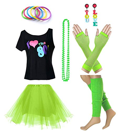 Women's I Love The 80's T-Shirt 80s Outfit Accessories(S/M,Green) -