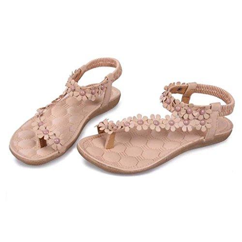Inkach® Kvinners Sommer Bohemia Blomst Perler Flip-flop Sko Flat Thong Sandaler Khaki _1