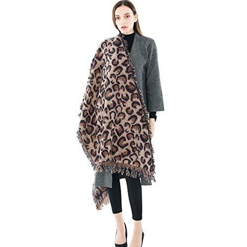GERINLY Leopard Print Scarf Cashmere Feel Warm Winter Neck Wraps Pashmina Shawls (Khaki Brown) ()