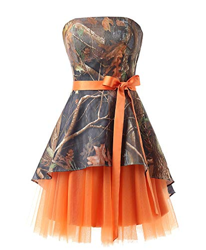 Ci-ONE Short Homecoming Dress Camo Wedding Dress Tulle Prom Dress Orange, 6