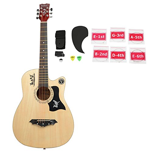 38 Inch Professional Acoustic Guitar with Bag, Straps,Picks, LCD Tuner,Pickguard and String Set,wood color by OASIS FOX