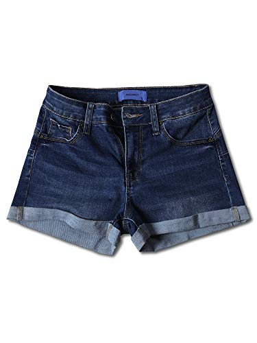 Awesome21 Casual Push-up Roll-up Cuff High-Rise Denim Shorts Dark S ()