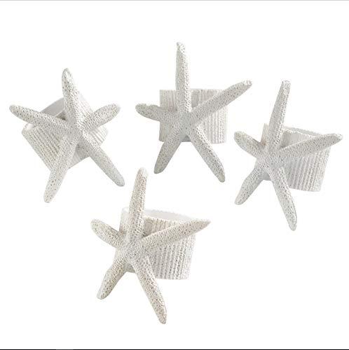 Fennco Styles Unique Starfish Nautical Napkin Ring, White, Set of 4 ()