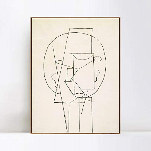 "INVIN ART Framed Canvas Giclee Print Art Head 1913,by Pablo Picasso Wall Art Living Room Home Office Decorations(Wood Color Slim Frame,24""x32"")"