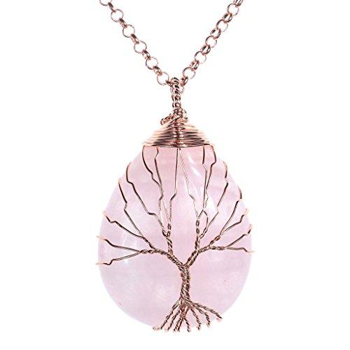 Jovivi Vintage Tree of Life Wire Wrapped Copper Teardrop Natural Rose Quartz Gemstones Pendant Necklace