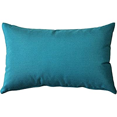 PILLOW DÉCOR Sunbrella Spectrum Peacock Outdoor Pillow 12x19: Home & Kitchen