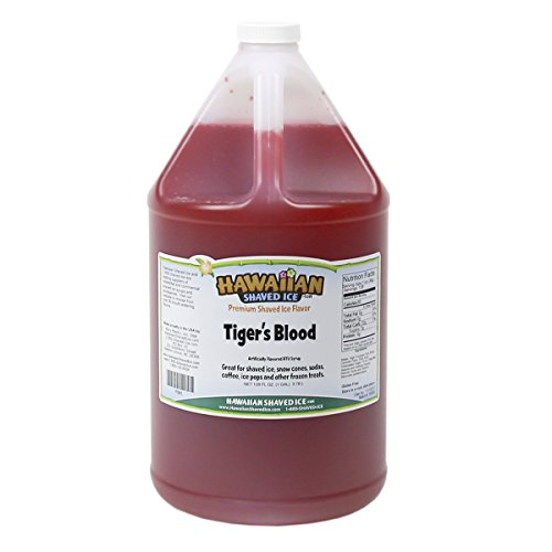 - Hawaiian Shaved Ice Tiger's Blood Snow Cone Syrup | Includes One Gallon of Premium Ready-to-Use Shaved Ice or Snow Cone Syrup | For Home or Commercial Use