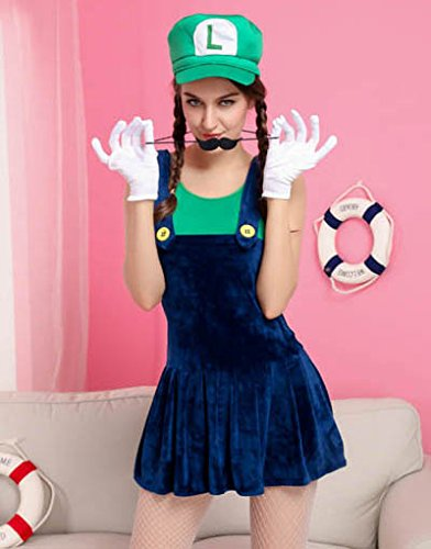 Sexy Cute Luigi Halloween Costume Womens Adult Nintendo (Mario Brothers Bowser Halloween Costume)