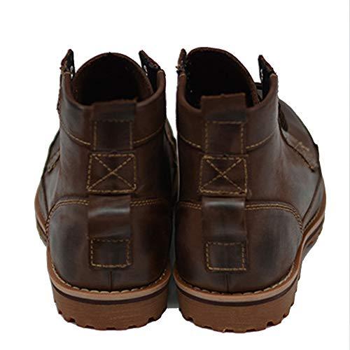 Coffee Cordones De Calzado Trabajo Con Combate Los Del Motocicleta Zapatos Martin Botas Merryhe Genuino Tobillo Senderismo Cuero Hombres Zapato PxUU1S