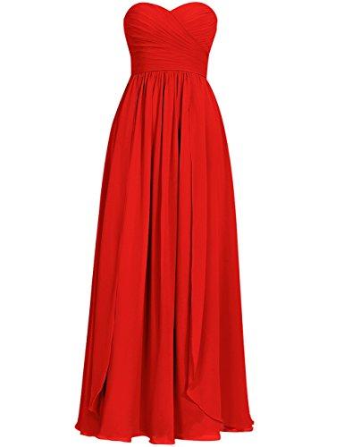 HUINI Pliegues Novio Largo Gasa Paseo Vestidos de dama de honor Fiesta Formal Vestidos Rojo
