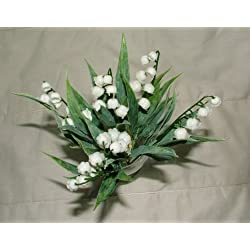 2 x Lovely Artificial Lily of the Valley bush with 6 stems each - Home Wedding Anniversary Grave by A1-Homes