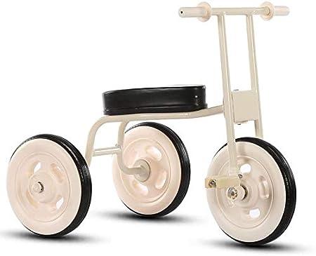 SYXL Retro Simple de Triciclo Infantil del bebé 1-3-4 año Interiores de automóviles Cochecito de bebé de Edad,White