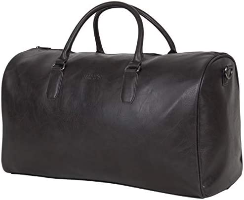 "Kenneth Cole Reaction Port Stanley 20"" Pebbled Vegan Leather Carry-On Duffel/Travel Duffle Bag, Brown, Dome"