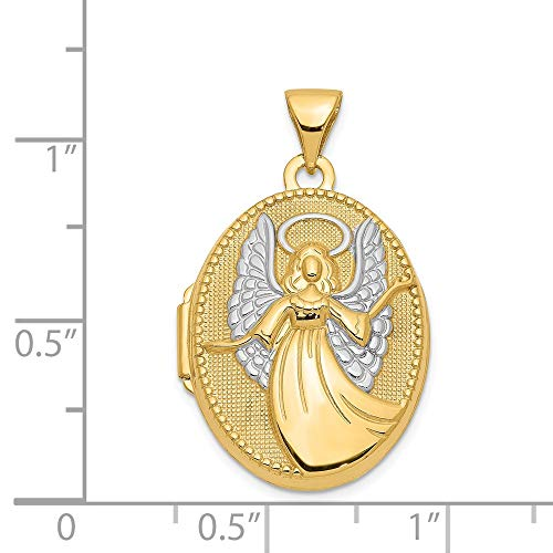 14K Yellow Gold 21mm x 18mm Guardian Angel Oval Shape Locket Pendant by Jewelry Pilot (Image #3)