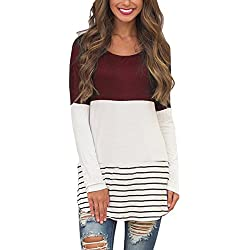 Hount Womens Back Lace Color Block Tunic Tops Long Sleeve T-Shirts Blouses with Striped Hem