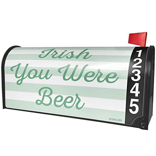 NEONBLOND Irish You Were Beer St. Patrick's Day Simple Light Green Stripes Magnetic Mailbox Cover Custom Numbers (Light Irish Beer)