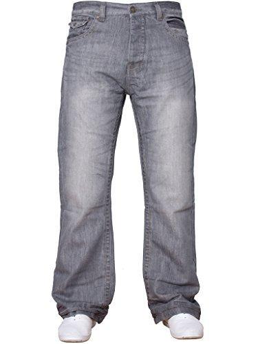 Larga Uomo Vita Jeans Grigio Design Di Tutte Svasati Taglie Gamba Basic Svasato Nuovo Blu Denim Da T8tBnq