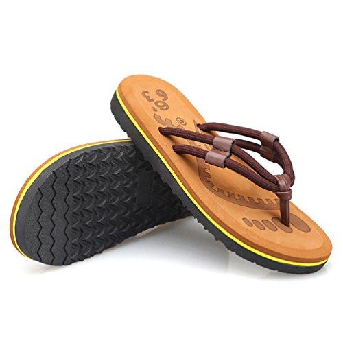 CHENGYANG Herren Strand Hausschuhe Sommer Flip Flops Schuhe Sandalen Männer Slipper Zehentrenner Khaki#2