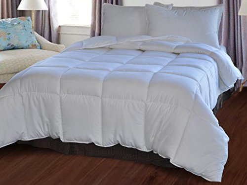 Natural Comfort White Down Alternative Comforter with Embossed Microfiber Shell, Medium Weight Filled,Queen