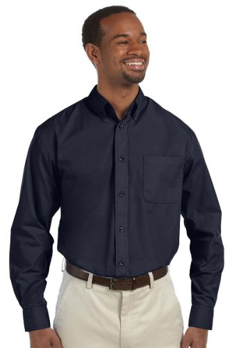 Harriton Men's Chest Pocket Adjustable Cuffs Down Collar Value Poplin Shirt