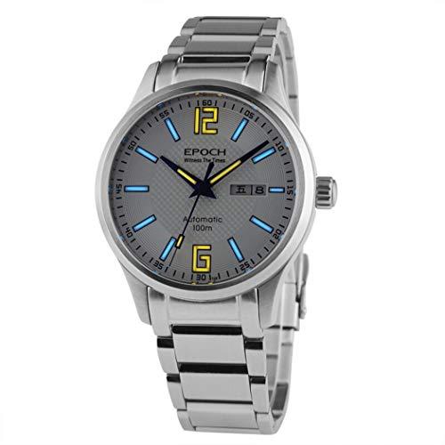 EPOCH 7012G Mens Water Resistant 100m Dual Calendar T25 Tritium Luminous Stainless Steel/Genuine Leather Bracelet Automatic Self Wind Mechanical Wrist Watches (P1) (Epoch Watch)