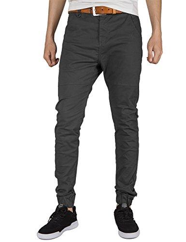 ITALY MORN Men Chino Jogger Pants Elastic Cuff Casual Pants Cotton Twill Khakis Slim Fit Black (Medium, Dark Grey)
