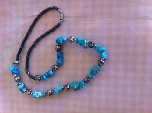 - Necklace of Pur Malachite and Hematite Gemstones Made Only of Tumbled Rocks