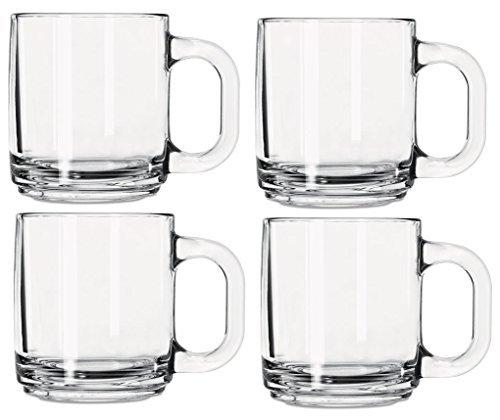 Libbey 5201 10 Ounce Crystal Coffee Mug Warm Beverage Mugs Set of 4 (Glass Coffee Mugs 10 Oz)